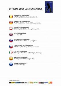 CALENDARIO OFICIAL - LDET 2014 - OFFICIAL CALENDAR